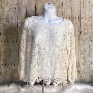 ✨HP✨Irenes Story White Crochet Long Sleeve Top